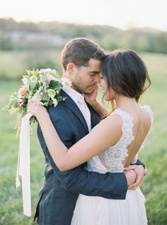 Natural, organic bride and groom portraits by Sawyer Baird | Wedding Sparrow