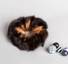 Natural Fur Brown and Gold Scrunchy by HandMadeFurU on Etsy