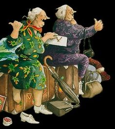 Fun Illustration, Illustrations, Old Lady Humor, Growing Old Together, Nordic Art, Whimsical Art, Old Women, Getting Old, Flower Art