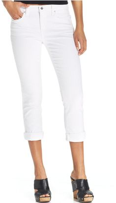 DKNY Jeans Soho Skinny Rolled Crop Jeans, White Wash