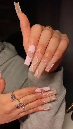 Light Pink Acrylic Nails, Classy Acrylic Nails, Acrylic Nails Coffin Pink, Long Square Acrylic Nails, Dark Pink Nails, Long Square Nails, Cute Pink Nails, Almond Acrylic Nails, Marble Nails