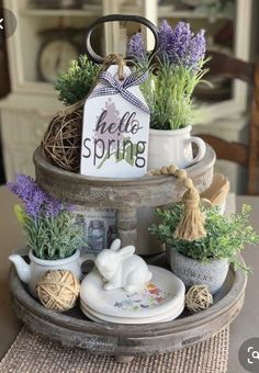 Hello Spring / Wood Tag / Tiered tray decor / Farmhouse Decor / Mini Sign / Tag Sign / Tray Decor / Spring Decor / Rae Dunn – Famous Last Words Country Farmhouse Decor, Farmhouse Design, Farmhouse Style, Modern Farmhouse, French Farmhouse, Vintage Country, French Country, Wood Tags, Tiered Stand