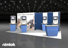 Nimlok designs custom and modular technology exhibits and trade show booths. For Booz Allen Hamilton, we created a 10x20 booth to meet their marketing needs.