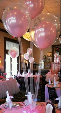 Pink balloons great for center pieces