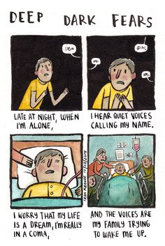 Deep Dark Fears by Fran Krause. Cute Comics, Funny Comics, Creepy Comics, Fran Krause, Scary Creepy Stories, Creepy Things, Scary Facts, Creepy Stuff, Random Stuff