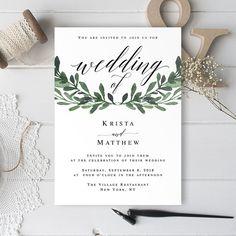 Wedding invitation only Greenery wedding invitation template download Greenery invitation printable Greenery template Greenery invite #vm55
