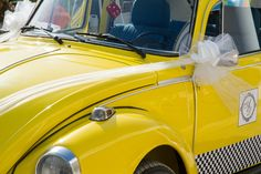 Old beetle yellow car for #elegant #weddings.  Shabby Chic style. #vintage car