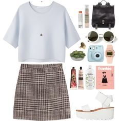 A fashion look from March 2014 featuring crop top, mini skirt and leather shoes. Browse and shop related looks.