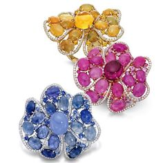 Jessica Fong Fine Jewelry - Gold Orchid rings with sapphires, rubies and diamonds.