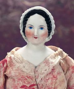 M'Lady - Margaret Hartshorn Collection: 43 German Porcelain Lady Doll with Sculpted Ruffled Bonnet