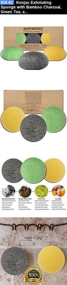 Bath Brushes and Sponges: Konjac Exfoliating Sponge With Bamboo Charcoal, Green Tea, And Turmeric - 3 New BUY IT NOW ONLY: $39.62