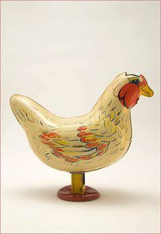 Vintage Tin Toy Chicken #chicken #chickens