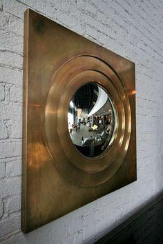 1970s Brass Convex Mirror image 3