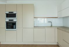 Beige matte kitchen