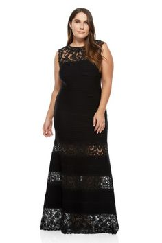 Tadashi Shoji Corded Embroidery on Tulle Pintuck Jersey Boatneck Gown - PLUS SIZE