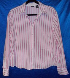 Pink stripe button shirt XXL poly/cotton Long sleeve career OR casual TANGENTS   #Tangents #ButtonDownShirt #Career