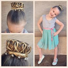 "Crown bun - princess crown Braids For Little Girls on Instagram: ""In ❤️ with this crown of hearts bun!! Credit @ashley_cardon #braidsforlittlegirls"""