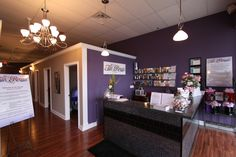 Lobby - Sign in counter LOVE THE PURPLE!!!!