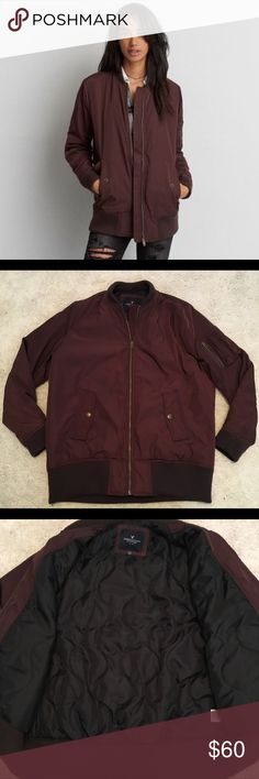 American Eagle Longer-Length Bomber Jacket L In amazing, pre-loved condition! Worn less than 5 times. This longer-length maroon bomber jacket is comfy, cozy and fully lined. Features 2 front pockets and 1 arm patch pocket. Knit trim at neck, bottom hem and cuffs. May be some slight piling/fuzzing on the trim due to the nature of the fabric, but I have done my best to remove what I can. Size L. Lying flat measures approx. 24 in pit to pit and 19.5 in pit to bottom hem. Shell: 100% acrylic…