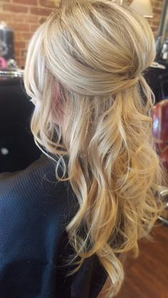 Wedding hair hairstyle updo half up half down pinned curly bride bridal