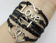 Infinity &love anchor and heart to heart bracelet black wax cord bracelet gift.
