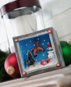 Holiday shadowbox ornament with mini action. - Mod Podge Rocks   Mod Podge Rocks