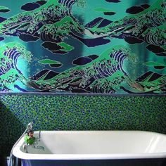 Fancy - Onda Wallpaper by Flavor Paper. really wild. Unusual Wallpaper, Original Wallpaper, Great Wave Off Kanagawa, Japanese Artists, Home Living, Creative Decor, Woodblock Print, Bathroom Inspiration, Pattern Wallpaper