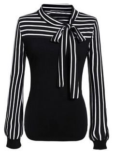12$  Watch now - http://di2y5.justgood.pw/go.php?t=1035 - Black White Tie-neck Striped Blouse