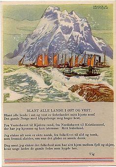 """Trygve M. Davidsen Fedrelandskort """"Blant alle lade i øst og vest"""""""