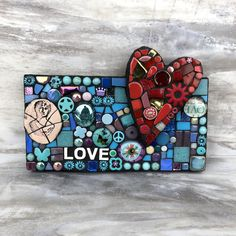 Lil' Love Note  handmade mixed media mosaic valentine gift wedding gift etsy stained glass art