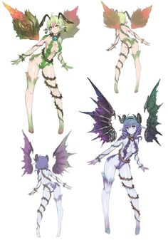 Gnomid & Yfritte Servans Character Art from Nights of Azure Fantasy Character Design, Character Design Inspiration, Character Art, Monster Girl Encyclopedia, Anime Monsters, Creature Design, Character Illustration, Fantasy Characters, Fantasy Art