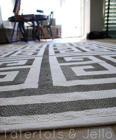 painted greek key rug floor