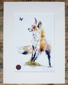 One of this weekends sell out editions  Thank you to everyone who purchased, liked and shared my work.  This curious little fox has his view fixed on a morpho butterfly which is flying free in the air.This beautiful piece is adorned with a specially crafted 3D handmade butterfly and handfinished with watercolour paints and gold ink. The fine details pick up and glisten in the light.  #contemporaryart #contemporaryartists #londonartist #watercolour #art #gicleeprint #londonart #original… Contemporary Artwork, Contemporary Artists, Morpho Butterfly, Little Fox, Gold Ink, London Art, Watercolour Painting, Pet Portraits, Giclee Print
