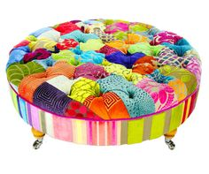 Bespoke Round Patchwork Footstool/Coffee Table Designers Guild Fabric