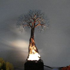 Wire Tree Of Life Grand Old Tree lamp dressed in shimmering copper red with white and calming blue branches on an extraordinary beautiful Family