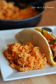 Homemade Mexican rice - this is my official new go-to rice recipe! So good and easy! I used equal parts instant rice and broth instead and boiled out the extra juice after it sat for 5 minutes. Perfect!