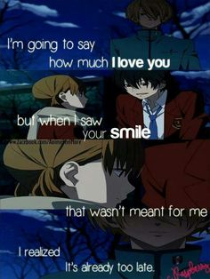 My little monster. I HATED that she picked the other guy. I wanted her with the smart blonde friend! *crying in a corner*<<< The anime is about Haru and her :p My Little Monster, Little Monsters, Shizuku And Haru, Shizuku Mizutani, Sad Anime Quotes, Manga Quotes, Sad Quotes, Life Quotes, I Love Anime
