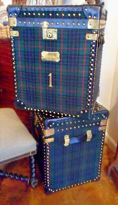 Absolutely Fabulous Vintage Tartan Steamer Trunks. Foxglove Antiques.