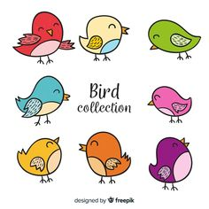 Colorful hand drawn bird collection Free... | Free Vector #Freepik #freevector #freehand #freeleaf #freenature #freebird Doodle Pages, Doodle Art, Bird Drawings, Easy Drawings, Kids Wall Murals, Bird Embroidery, Easy Stitch, Bird Crafts, Simple Pictures