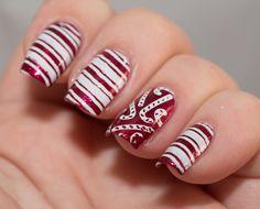 Winter Nail Art Challenge, Candy Cane Nail Art, ÜberChic Christmas 02, MoYou London Festive 06, Zoya Ash