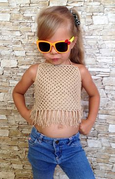 Crochet kids top Granny square toddler baby top Beach clothing for children's Summer festival boho crop top Beige fringe crochet top outfit Crochet Toddler, Crochet Girls, Cute Crochet, Crochet For Kids, Crochet Baby, Crochet Granny, Crochet Squares, Crochet Top Outfit, Crochet Bikini Top