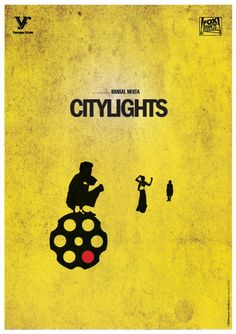 Citylights by Manoj Nath Iconic Movie Posters, Minimal Movie Posters, Minimal Poster, Movie Poster Art, Iconic Movies, Great Movies, Guess The Movie, Desi Humor, Movie Dialogues