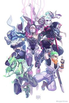 """cypritree: """" Warrior Spirits I had this almost finished and then anniversary event came out and so of course I had to rearrange the whole thing to add Sentai in!! Sentai is tied now with oni as my favorite genji skin HES SO COOL!!! """""""