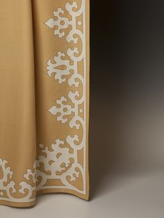 Beautiful trim work on this drape by Holland & Sherry