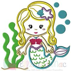 Mermaid Beach Ocean Scene Applique Design by ellieandmac.com