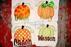 Appliqued Pumpkin Thanksgiving Shirt / Onesie for by MunskerRoo, $24.50