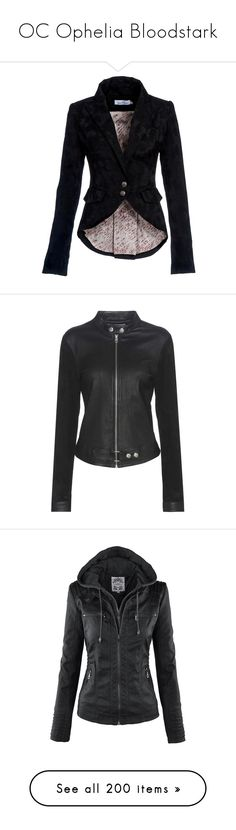 """""""OC Ophelia Bloodstark"""" by kate7695 ❤ liked on Polyvore featuring art, outerwear, jackets, blazer, coats & jackets, blazer jacket, black, suede leather jacket, calvin klein jeans jacket and genuine leather jackets"""