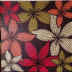 hibiscus flower in pointillism with acrylic paint Dot Painting Tools, Dot Art Painting, Ceramic Painting, Stone Painting, Mandala Art, Mandala Painting, Madhubani Painting, Hibiscus Flowers, Aboriginal Art