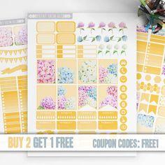 Hydrangea Flowers Planner Stickers Printable, Erin Condren Stickers, Monthly / Weekly Kit, Printable Sampler, Erin Condren, Instant download