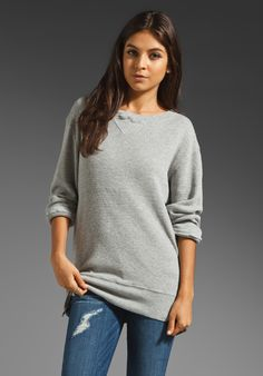 CURRENT/ELLIOTT The Side Zip Sweatshirt in Heather Shadow at Revolve Clothing.